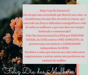 8 de março, dia internacional das mulheres.